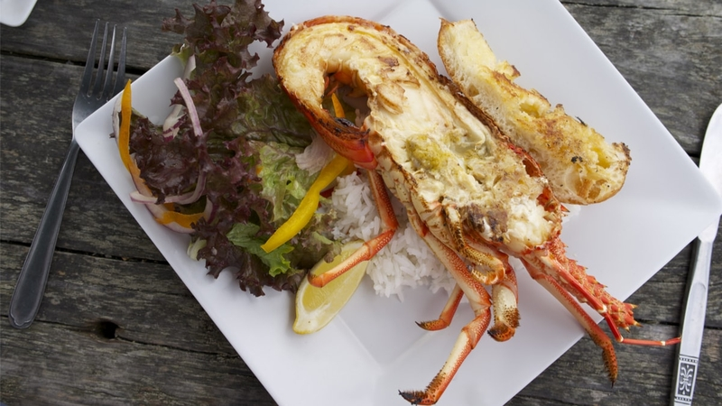 A plate with a cracked crayfish on it served alongside bread.