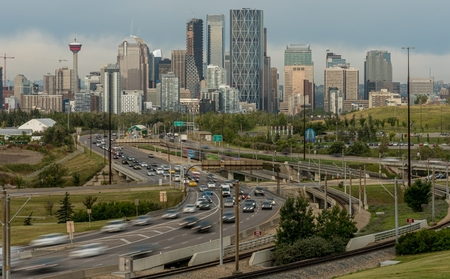 Traffic heading into and out of downtown Calgary, Alberta,