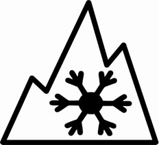 The three-peaked mountain emblem with a snowflake in the middle signifying that a tire is a winter tire.