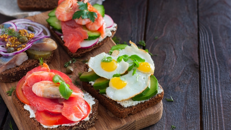 Small open faced sandwiches.
