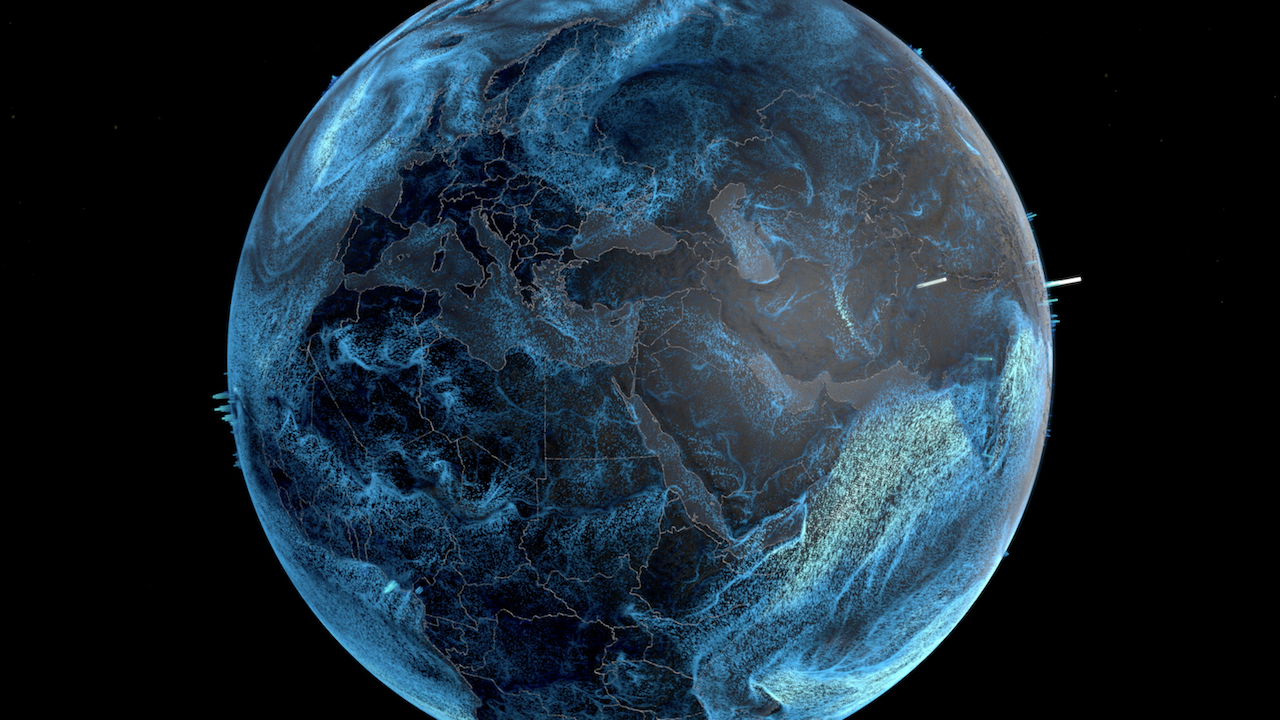 Visualization of global precipitation and wind speed