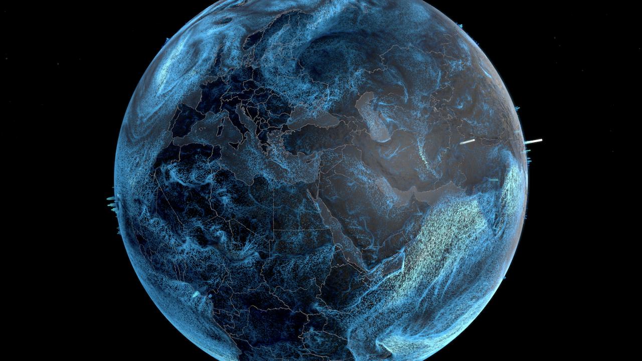 Visualization of global precipitation and wind speed