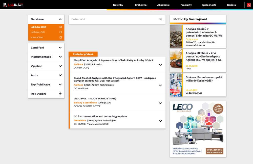 GCMS + LCMS Knihovna LabRulez - více než 13 000 dokumentů