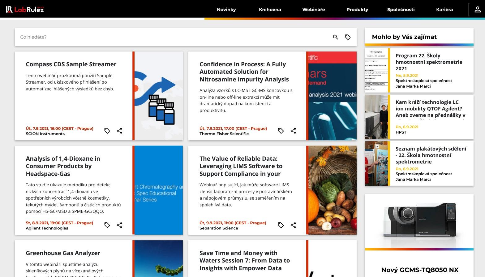 LabRulez: GC a GCMS webináře 36. týden