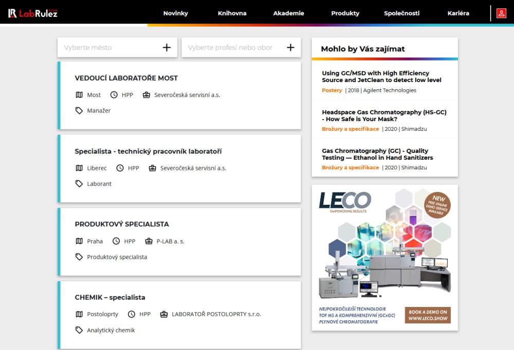 LabRulez Kariéra - přehled pracovních nabídek v oblasti analytické chemie - leden 2021