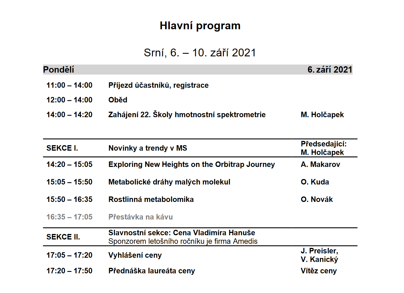 Program 22. Školy hmotnostní spektrometrie 2021