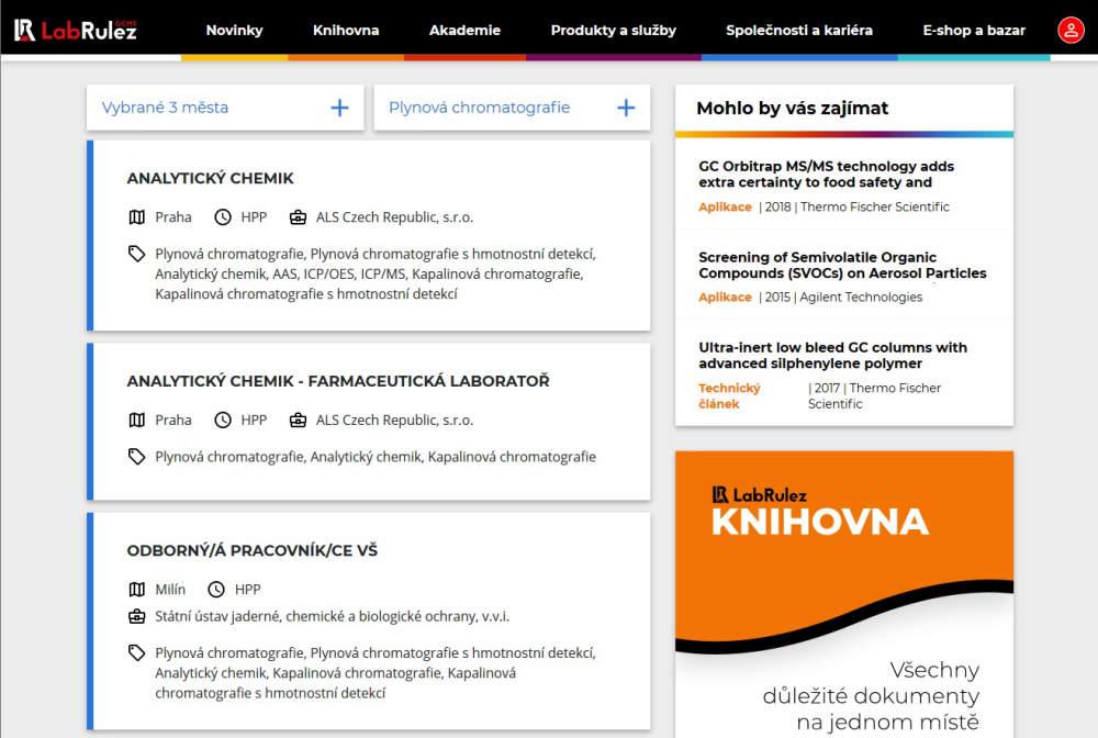 NOVÉ funkce v sekce KARIÉRA - pracovní portál pro oblast analytické chemie