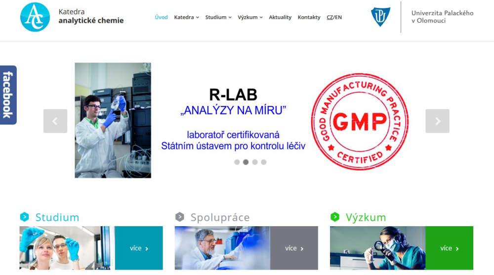 Spuštění nových stránek katedry analytické chemie, PřF UP v Olomouci