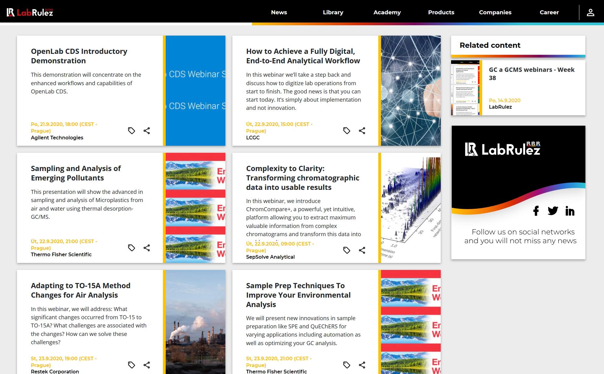 LabRulez: GC a GCMS webinars - Week 39