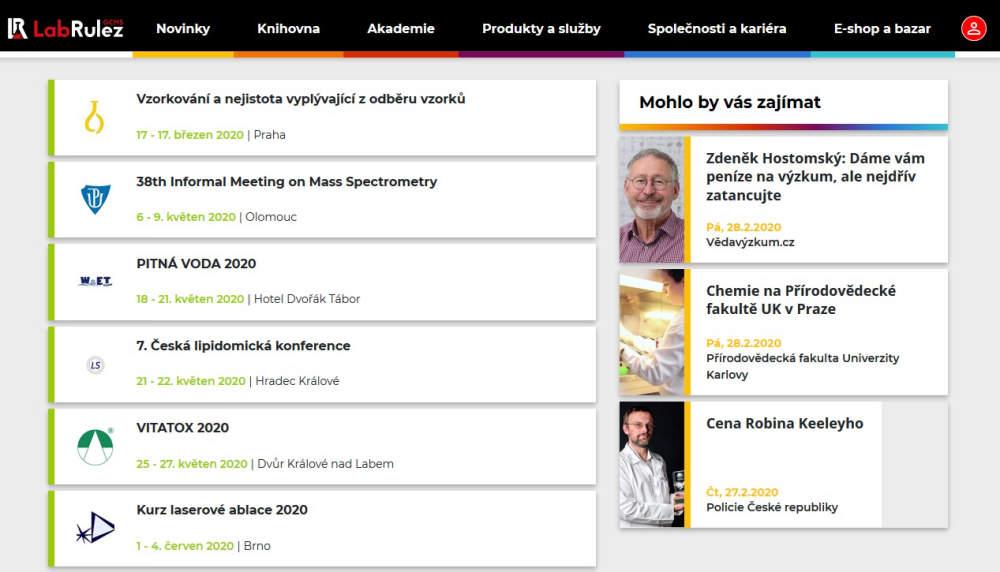 NOVÁ Sekce NEJBLIŽŠÍ AKCE - přehledný seznam seminářů, konferencí, školení v oblasti analytické chemie