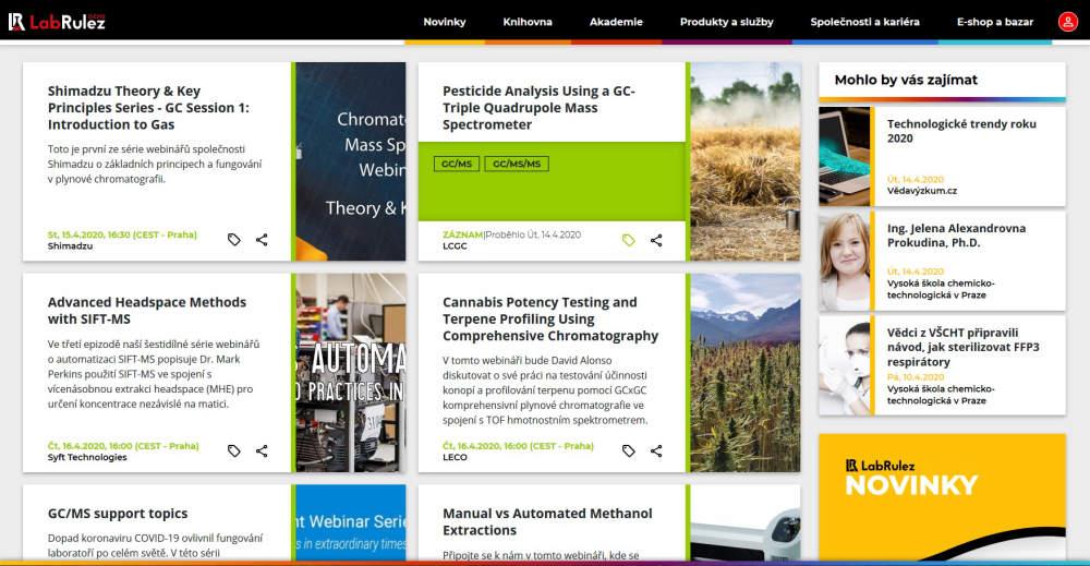 Webináře/Webinars ze světa plynové chromatografie a hmotnostní spektrometrie