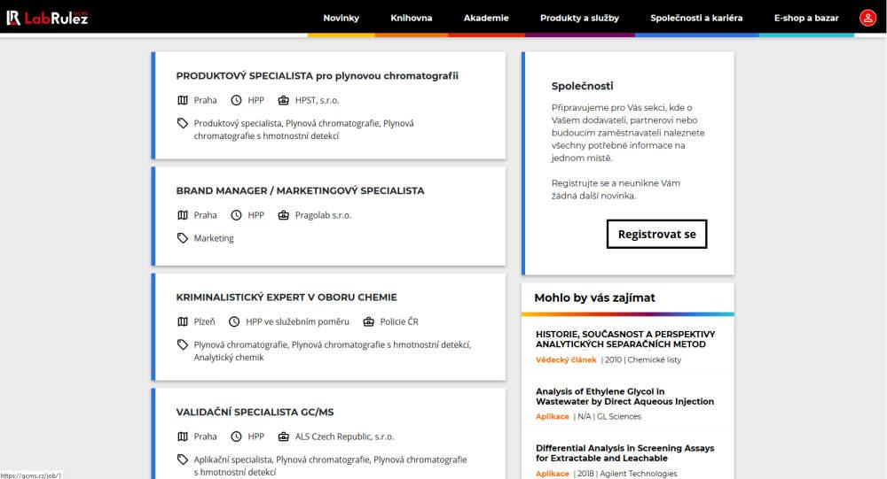 NOVÁ Sekce KARIÉRA - pracovní portál pro oblast analytické chemie