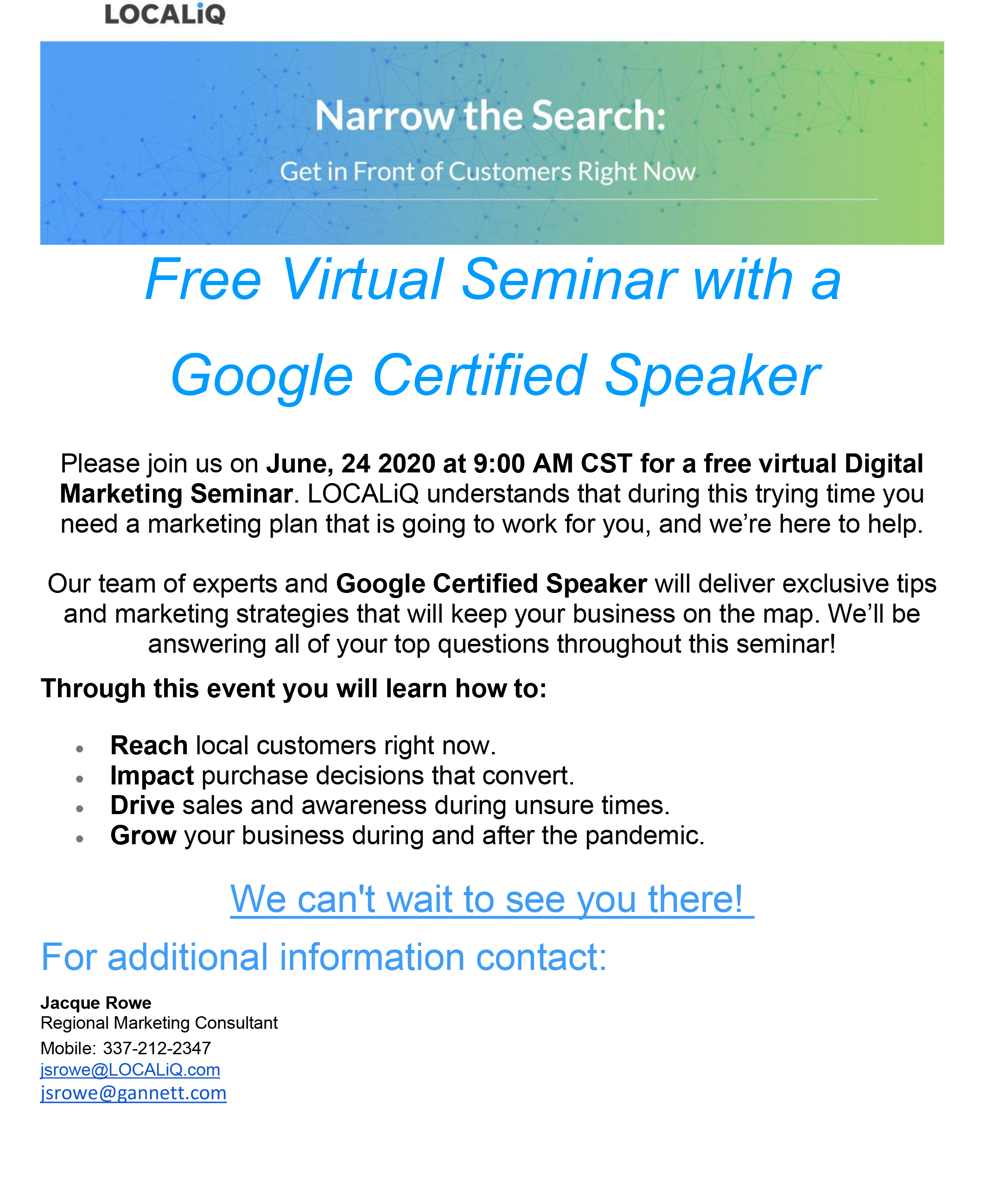 Free Virtual Seminar June 24 2020