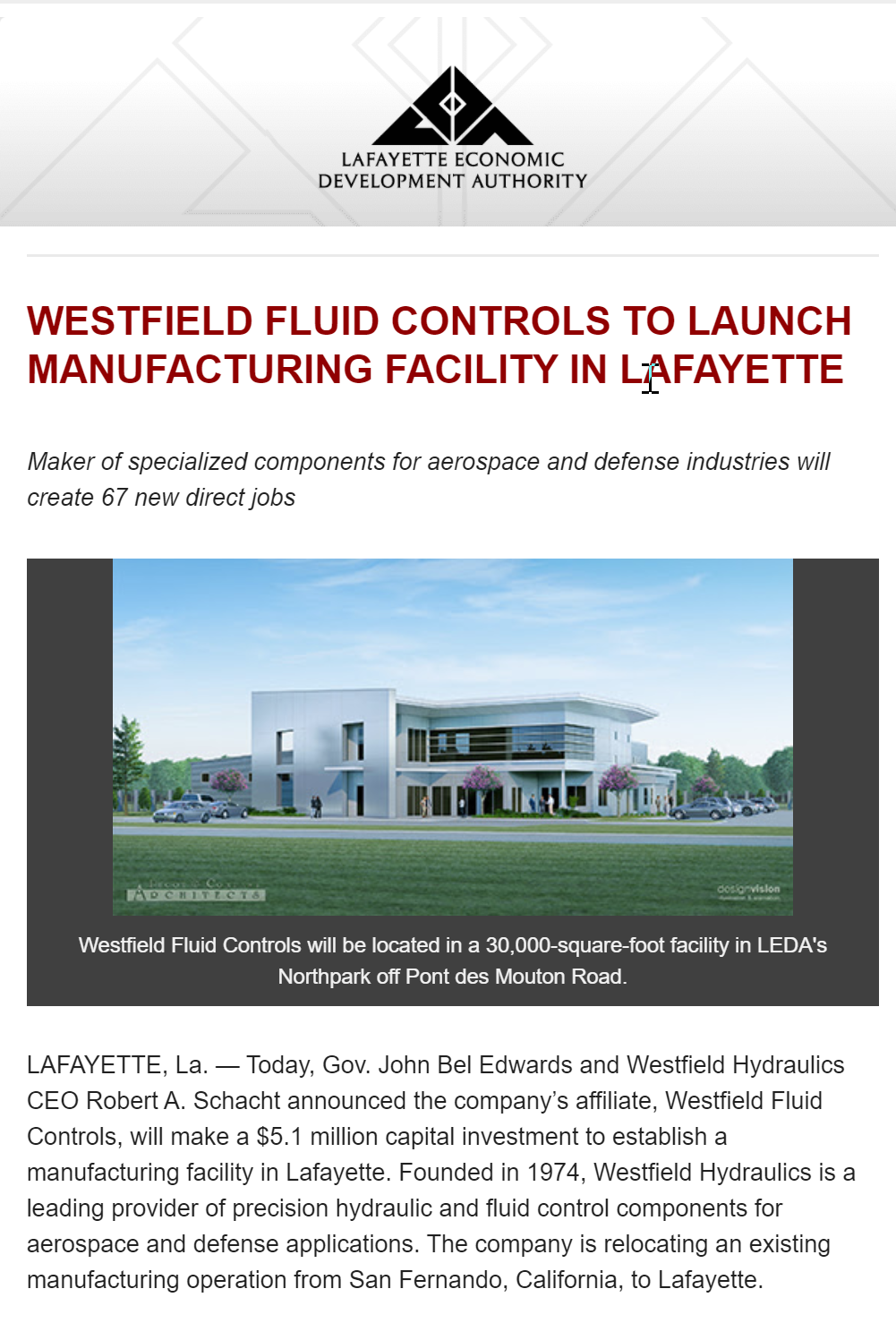 westfield fluid controls announcement