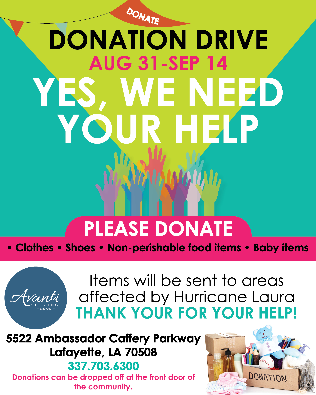 hurricane donation drive_RV42 - avanti 8-31-20