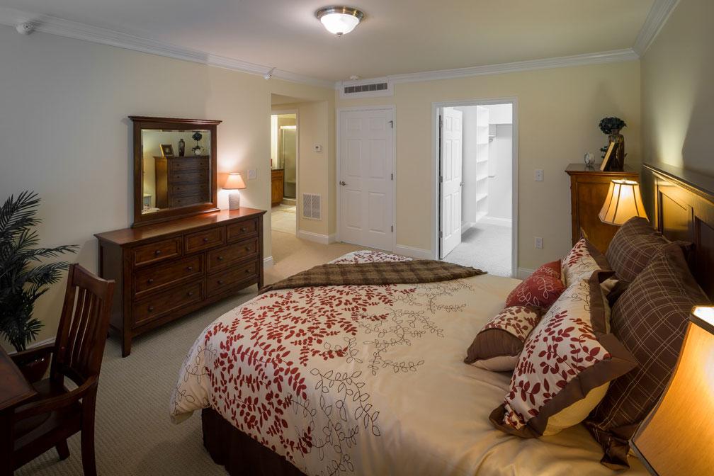 Senior apartment bedroom at Lakewood in Richmond, VA.