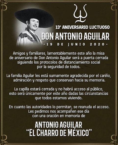 Comunicado Aniversario Luctuoso Antonio Aguilar