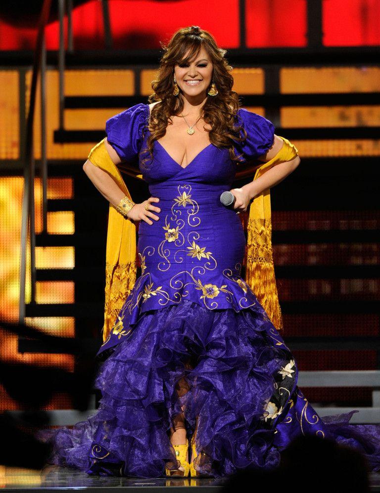 vestido azul con dorado Jenni Rivera