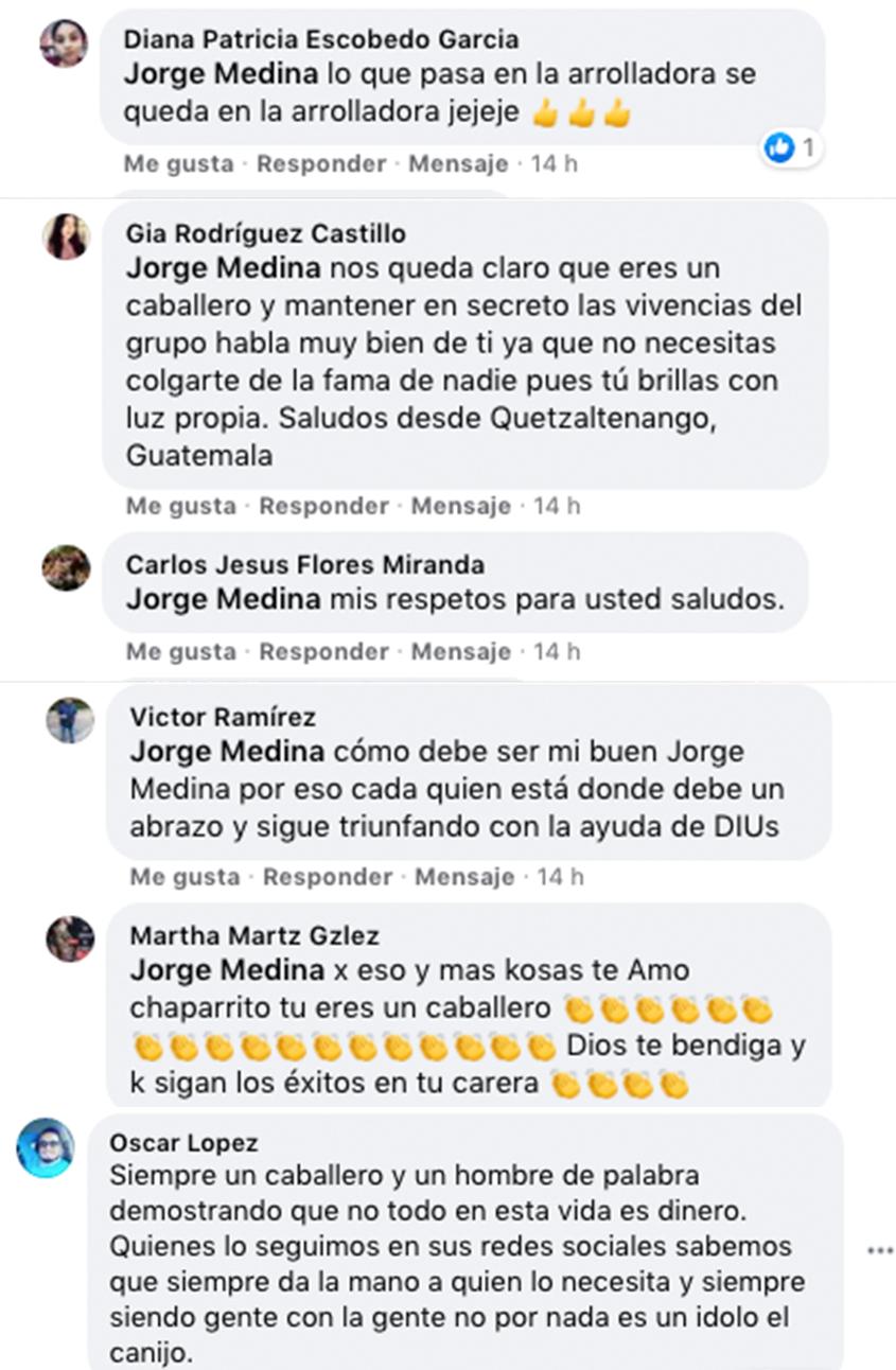 Jorge Medina comentarios positivos