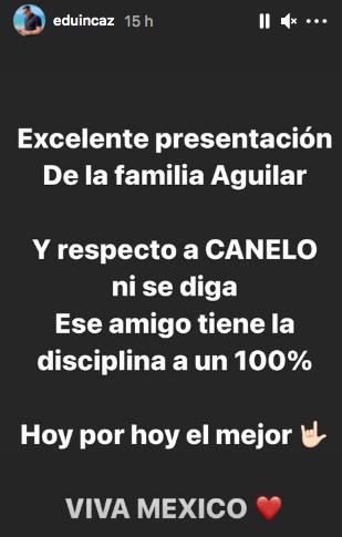 Felicitación de Eduin Caz a familia Aguilar