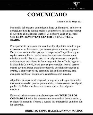 comunicado Rafael Amaya y Roberto Tapia