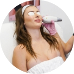 lady getting clear and brilliant treatment performed on her face at Laser Away
