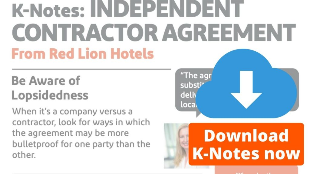 K-Notes Independent Contractor Agreement from Red Lion Hotel Corps Download Now