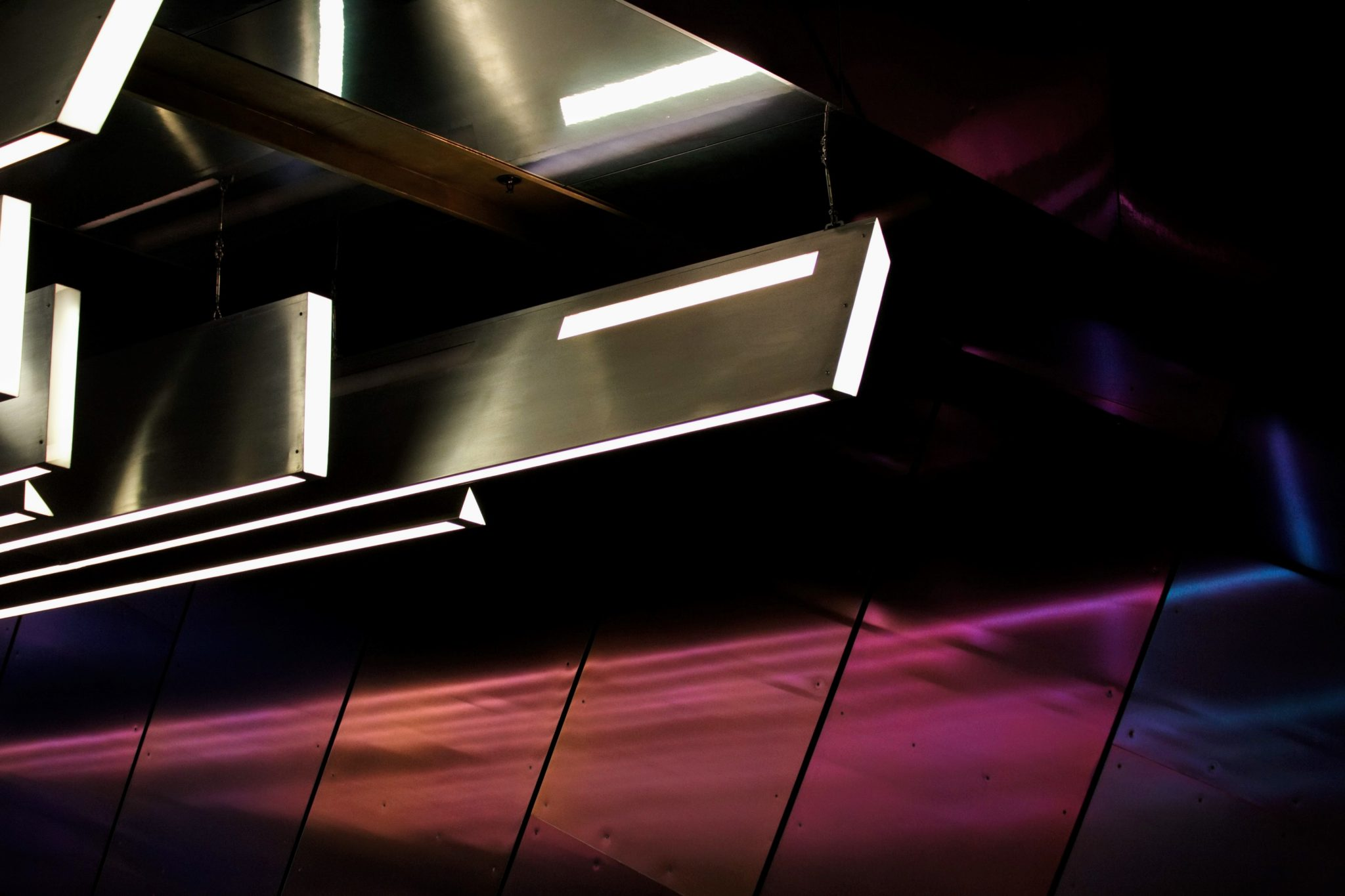 Artisting lighting installation with led and metal work
