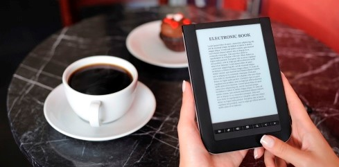 Table containing the display of e-book
