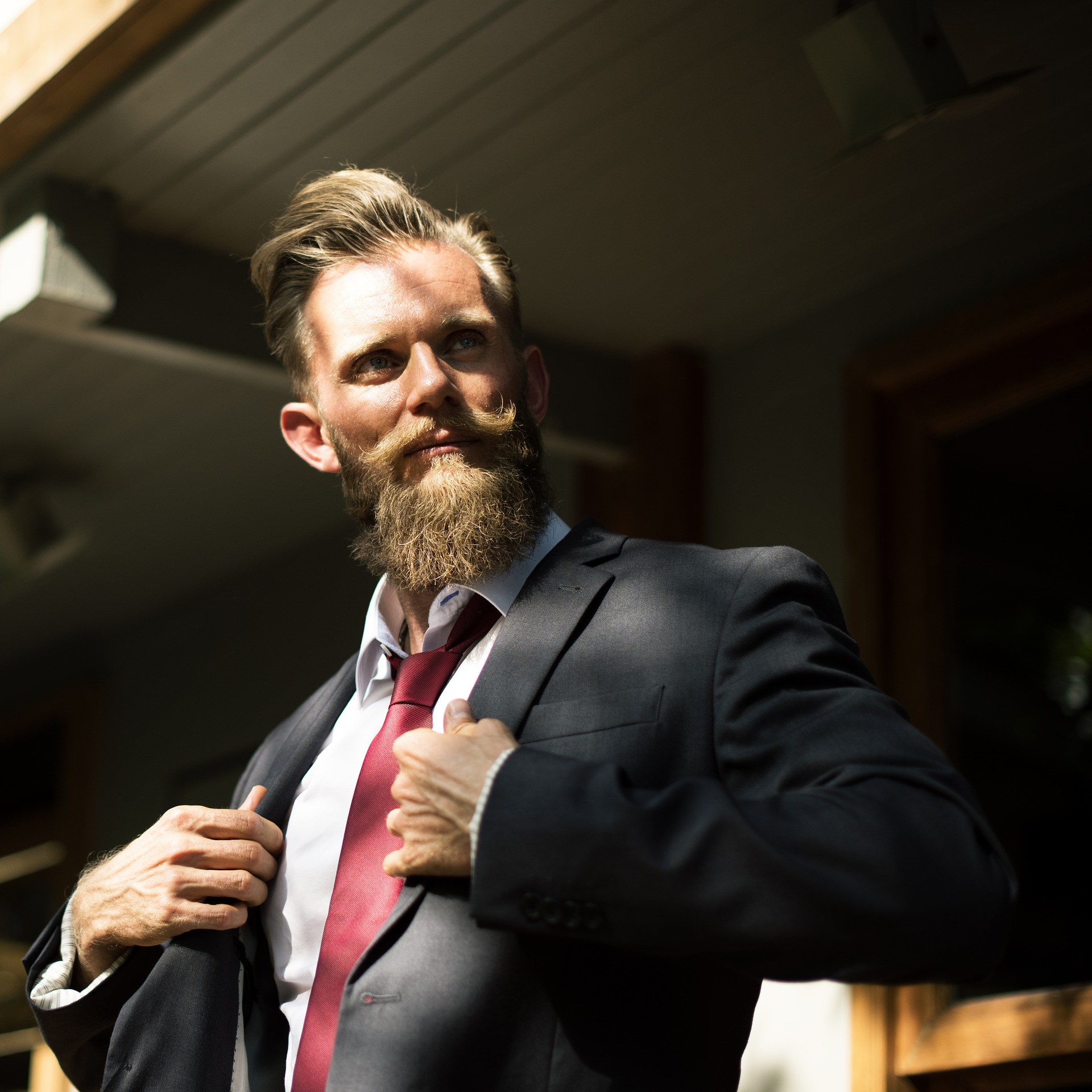 Business man wearing a navy suit