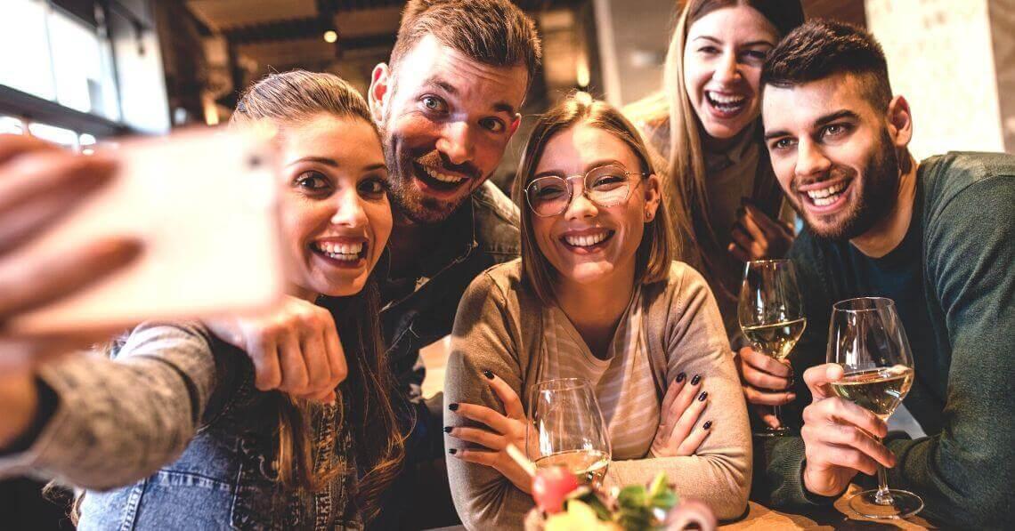 Friends having fun taking a selfie