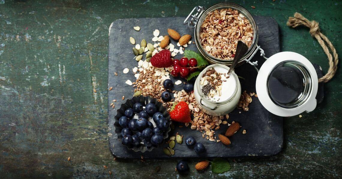 Fruits, nuts, granola and yogurt