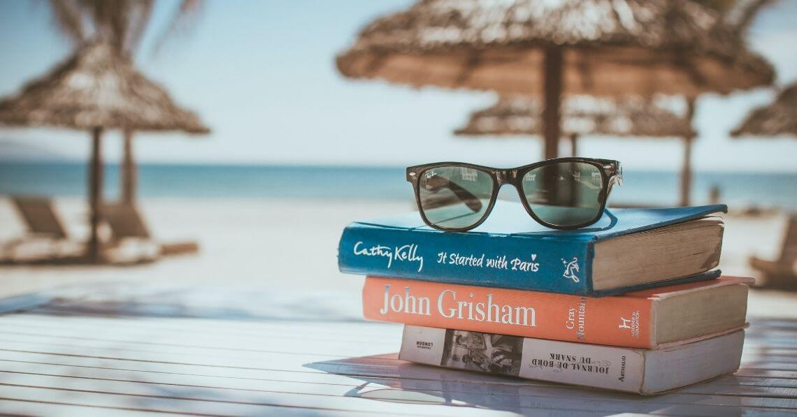 Books by the beach, relaxing in the summer
