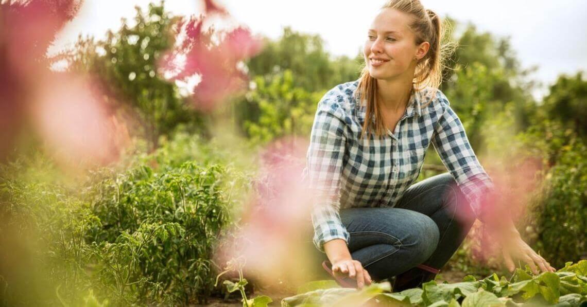 Young woman gardening