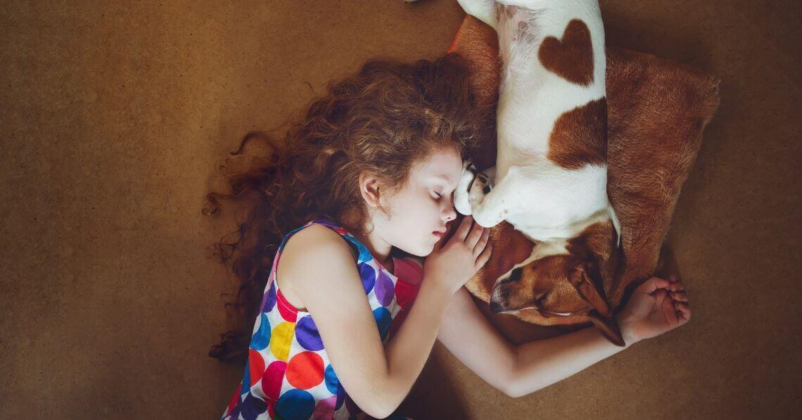A toddler girl snggling with a dog on the carpet