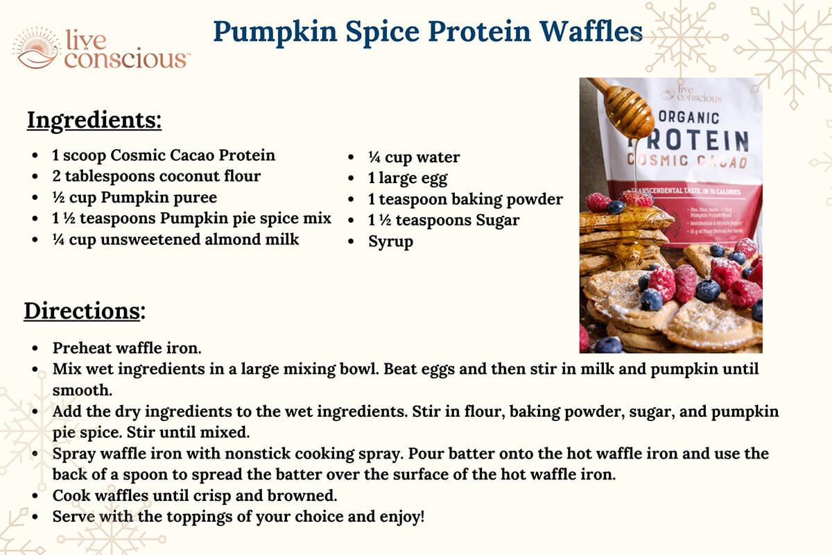Pumpkin Spice Protein Waffles Recipe Card