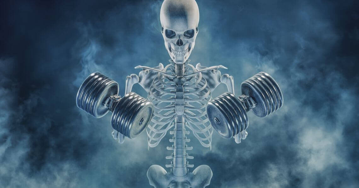 Skeleton working out with dumbells