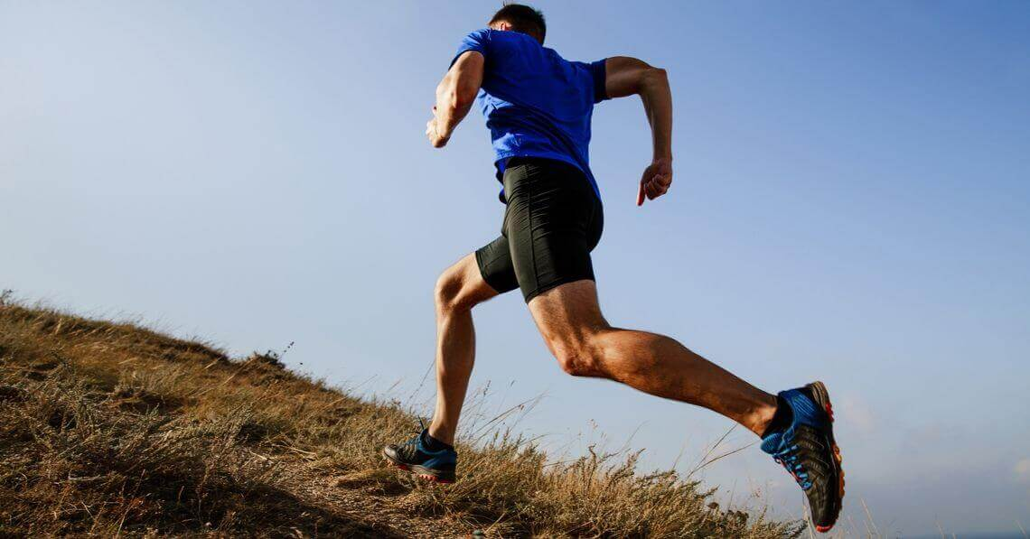 Man running in the mountains