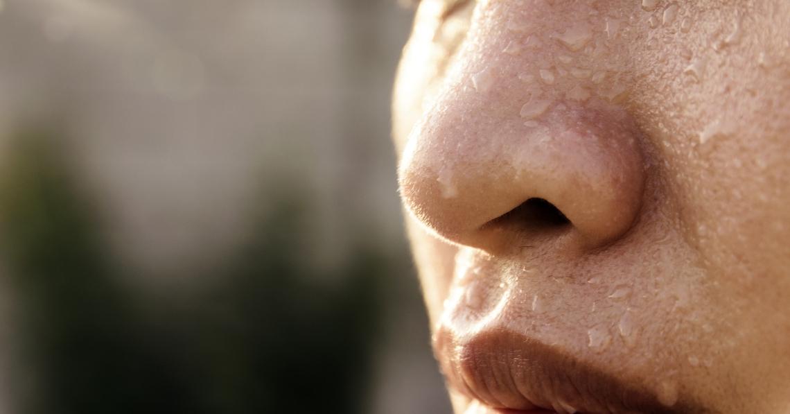 Close-up of sweat on skin