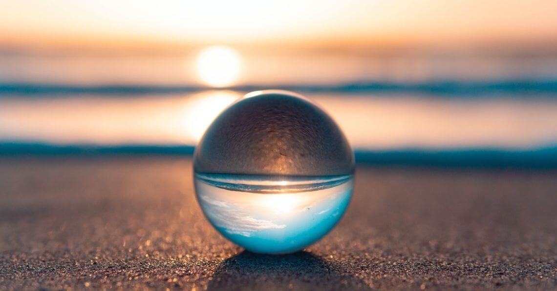 Lensball on the sand at the beach