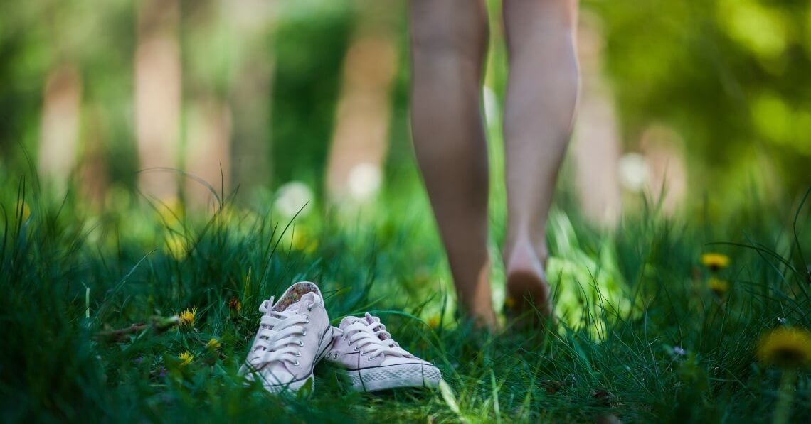 Walking on the grass barefoot