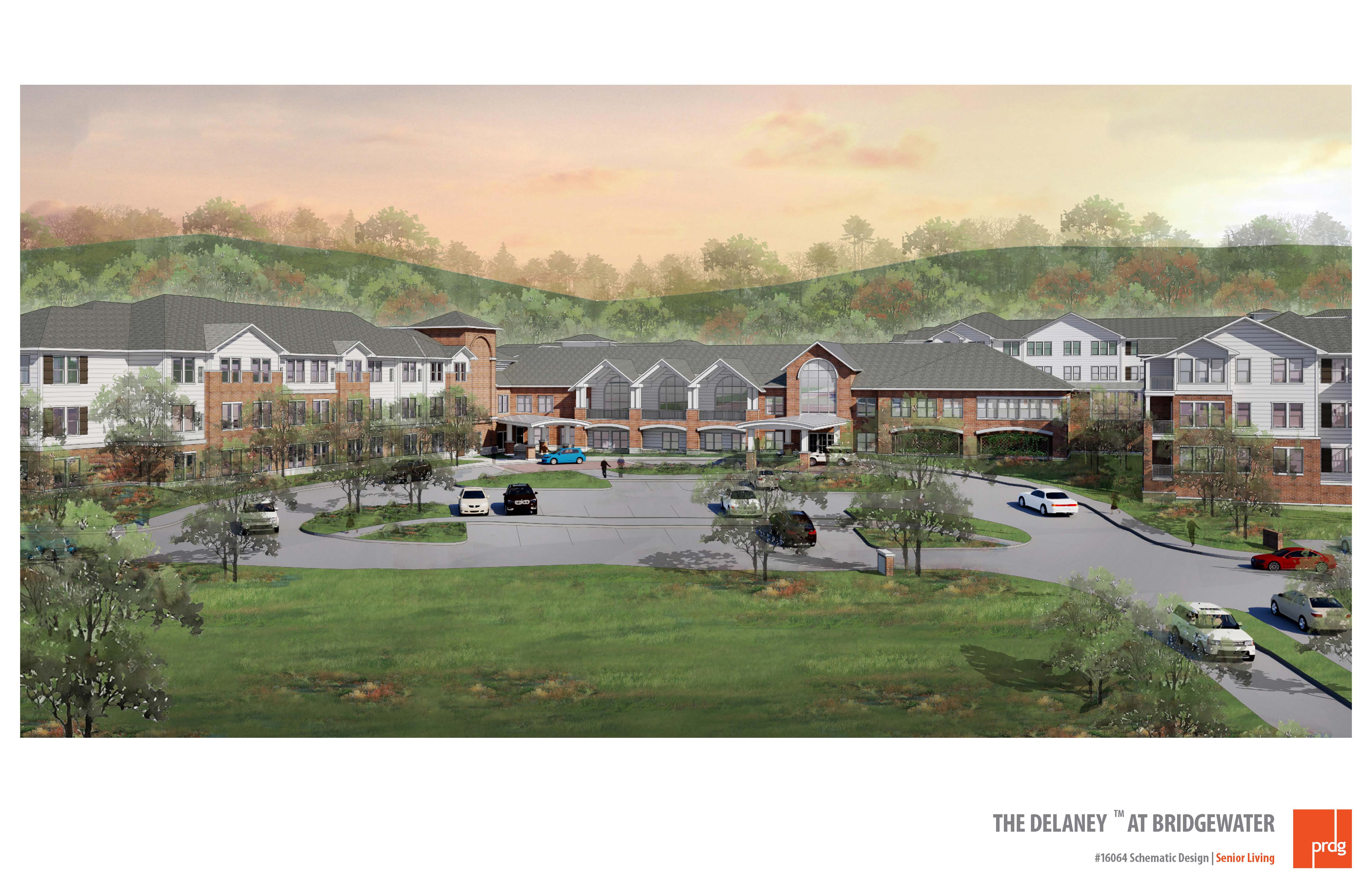 Rendering of The Delaney at Bridgewater, a senior living community developed by LCS Development