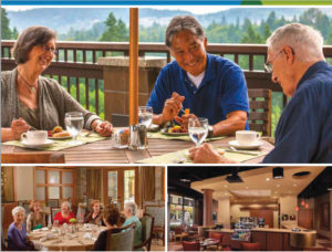 Three different images of groups of seniors dining at their senior living community