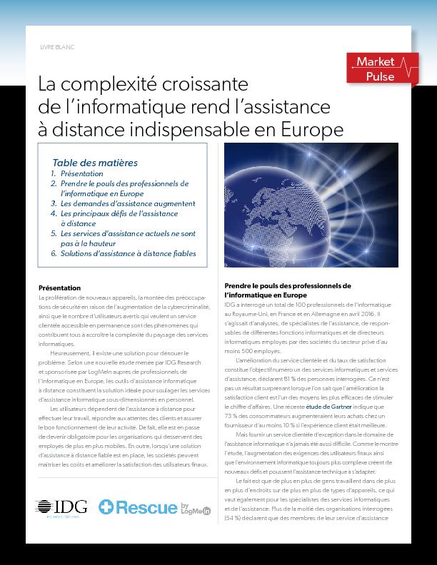 La complexité croissante de l'informatique rend l'assistance à distance indispensable en Europe