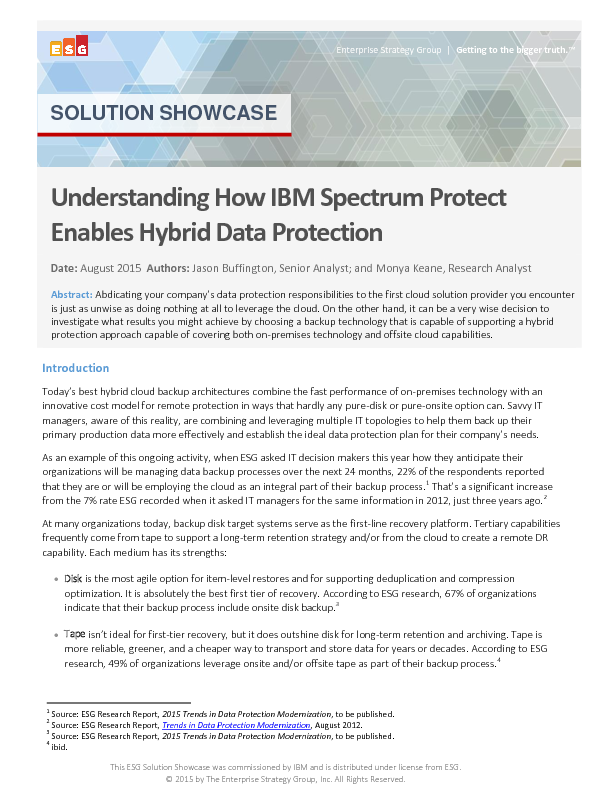 Understanding How IBM Spectrum Protect Enables Hybrid Data Protection