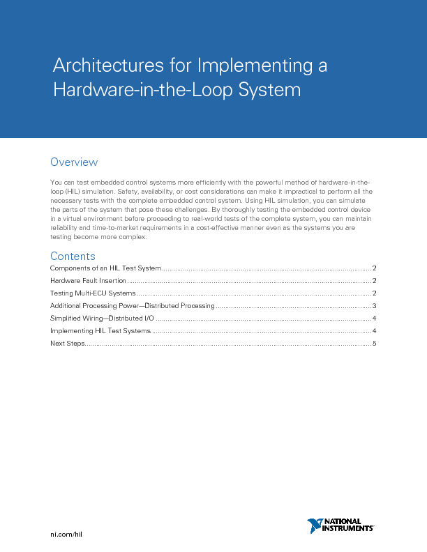 Thumb original architectures for implementing a hardware in the loop system