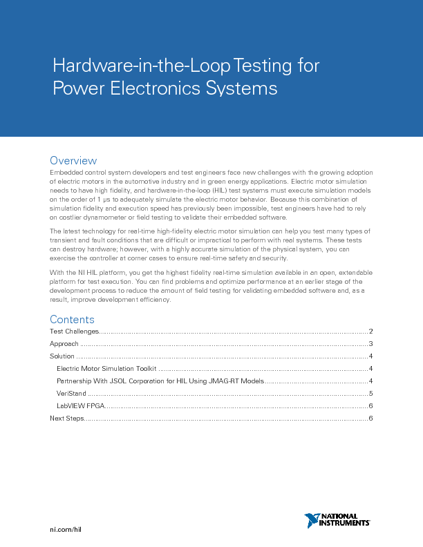 Hardware-in-the-LoopTesting for Power Electronics Systems