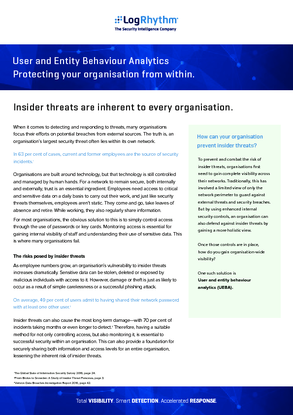 User and Entity Behaviour Analytics: Protecting your organisation from within