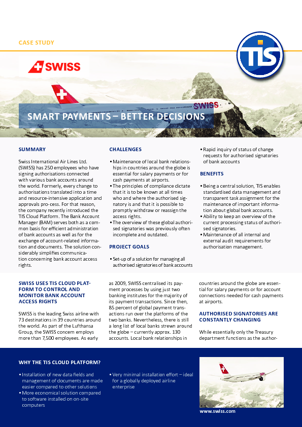 Case Study – Swiss Airlines EN