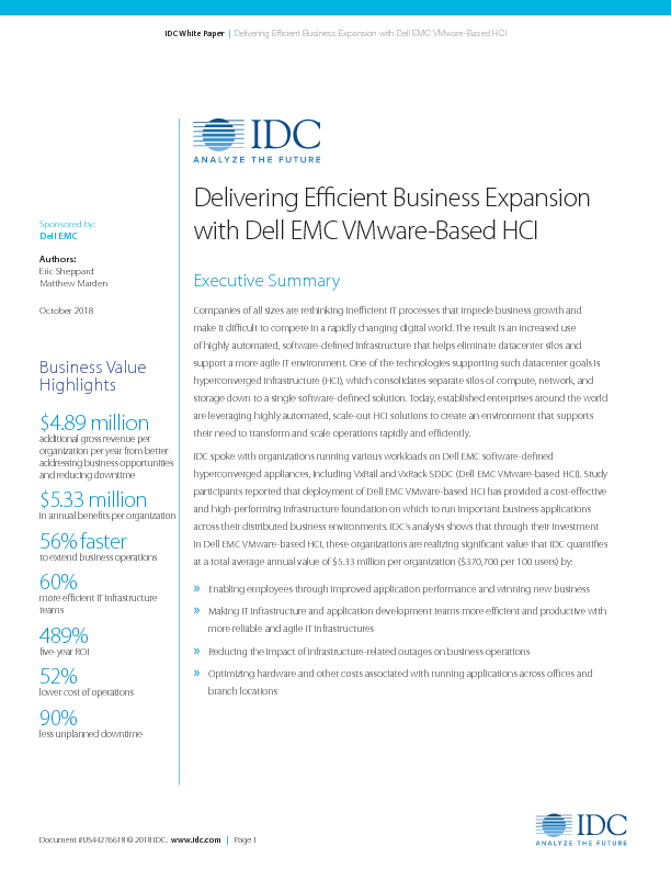 Thumb original third party report   idc   delivering efficient business expansion with dell emc vmware